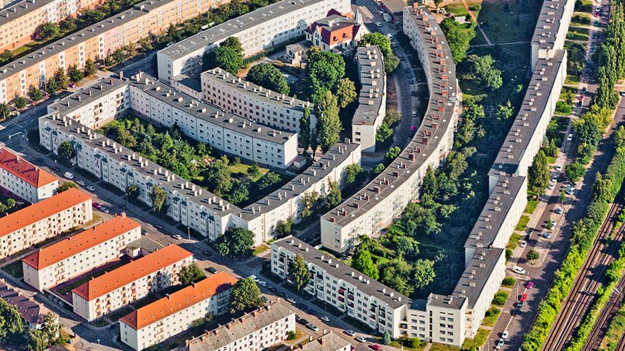 Blick über die Magdeburger Curiesiedlung