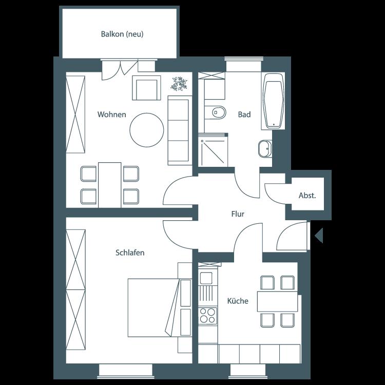 WOBAU Grundriss Zwei-Raumwohnung