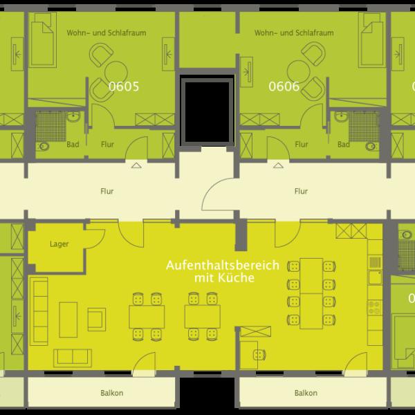 WOBAU Grundriss Seniorenwohnung
